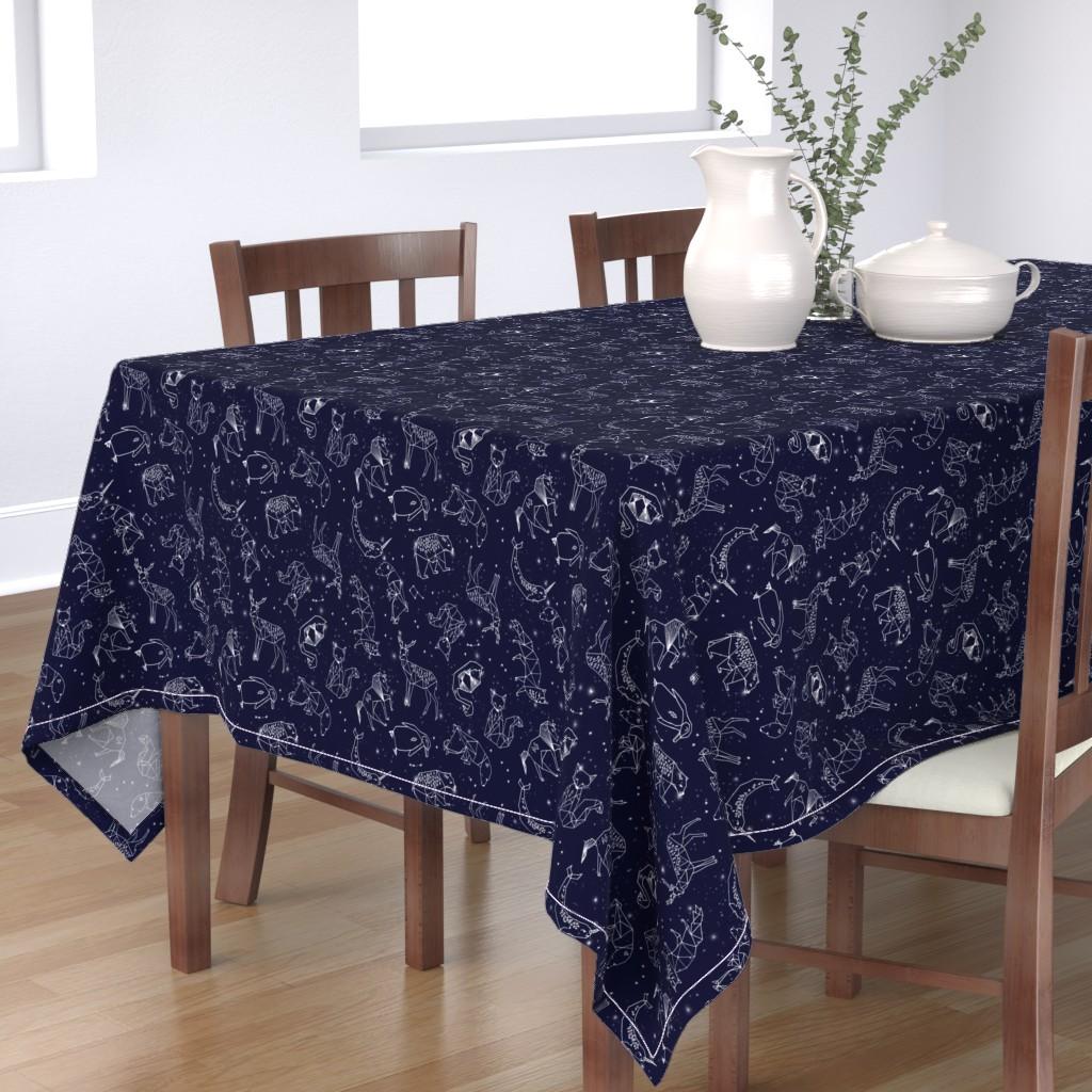 Bantam Rectangular Tablecloth featuring constellations // origami geometric animal astronomy stars night sky navy blue kids nursery baby print by andrea_lauren