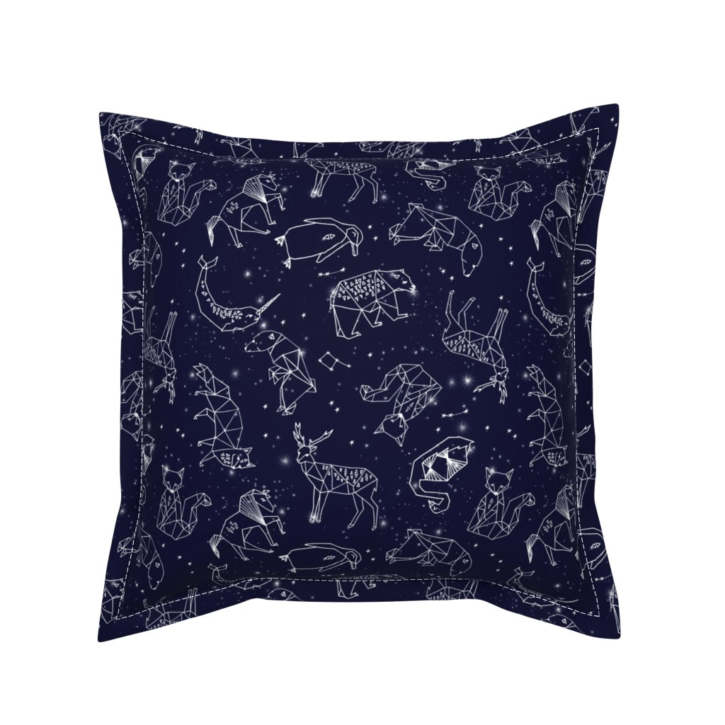 Serama Throw Pillow featuring constellations // origami geometric animal astronomy stars night sky navy blue kids nursery baby print by andrea_lauren