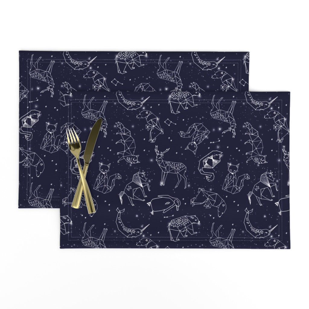 Lamona Cloth Placemats featuring constellations // origami geometric animal astronomy stars night sky navy blue kids nursery baby print by andrea_lauren