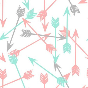 arrows scattered //  pink and mint scattered girly pastel arrows print southwest decor