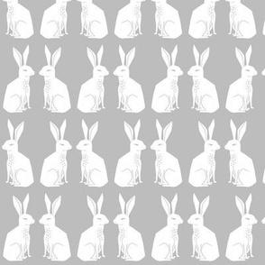 rabbit // block print easter kids grey nursery animal cute rabbits print