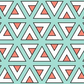 04834203 : teepee triangles : mint + coral
