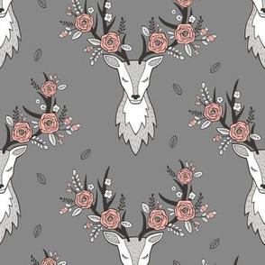 Deer Head on Dark Grey