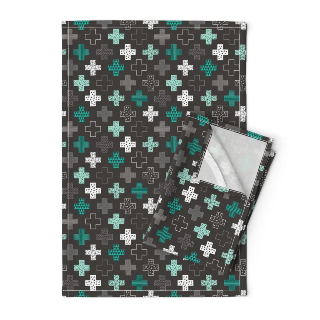 Orpington Tea Towels featuring Crosses Plus Sign Mint Green on Black by caja_design