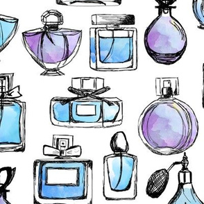perfume // watercolor pastel purple and blue