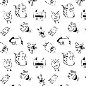 Monsters - Black and white, non-directional