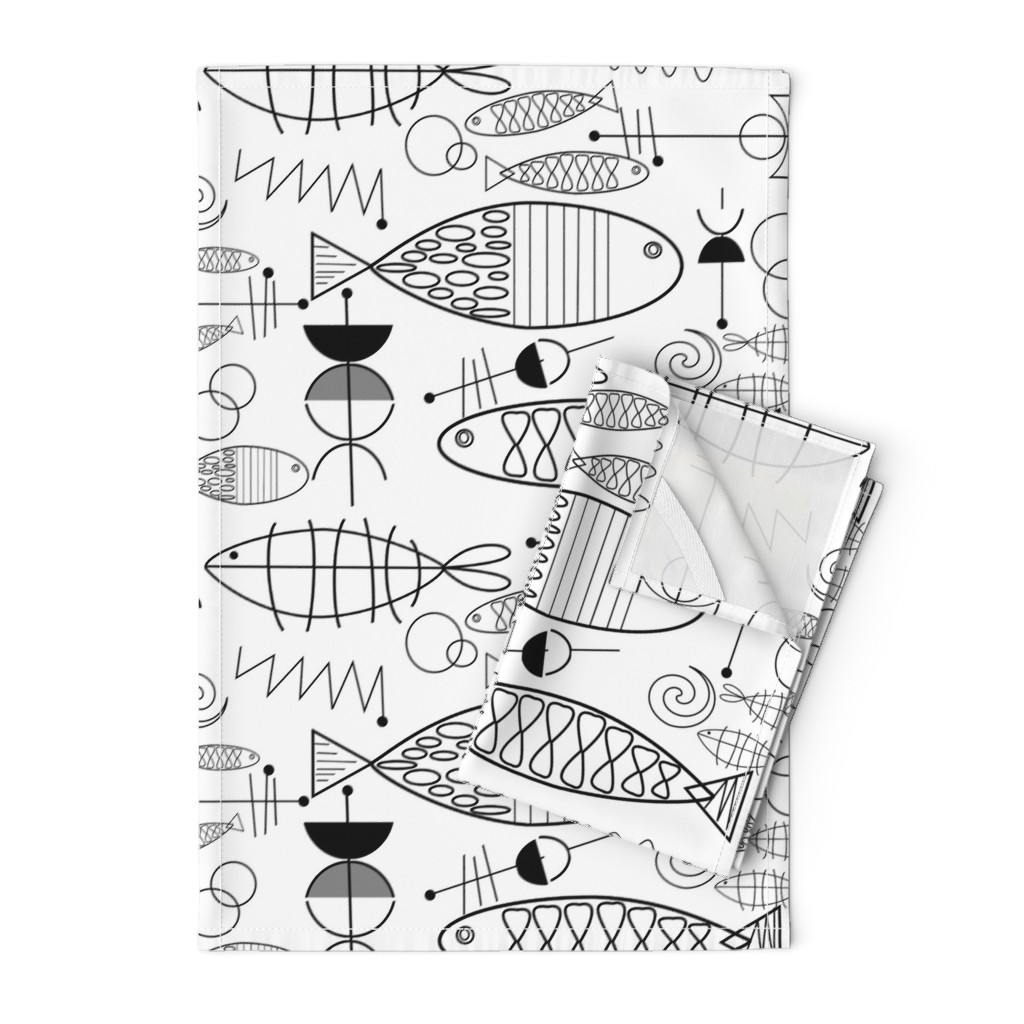 Orpington Tea Towels featuring Mid-Century Modern Fish Black and White by hot4tees_bg@yahoo_com