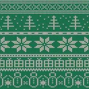 Fair Isle Xmas (white on green)