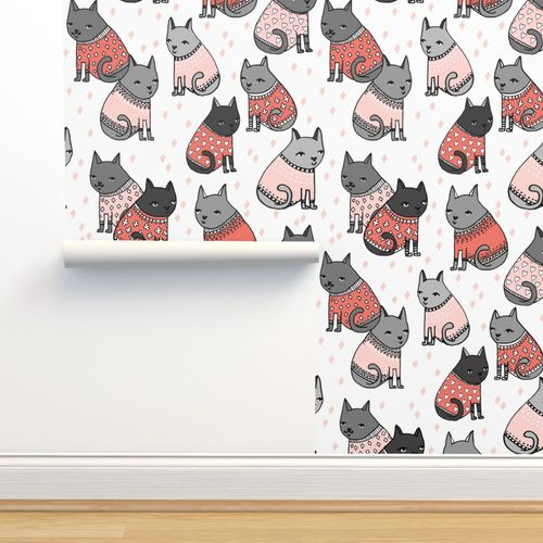 Cats In Sweaters Light Pink And Coral Spoonflower