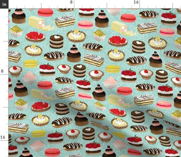 Cake Cotton:Sweets Cupcake French Pink Vintage Baking Cream Afternoon Tea Fabric