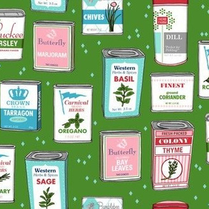 Spice Rack (Green) || herb food kitchen packaging tins typography leaves diamonds illustration vintage retro Christmas holiday