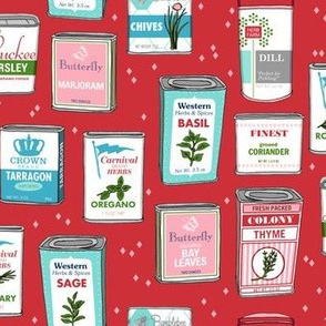 Spice Rack (Red) || herb food kitchen packaging tins typography leaves diamonds illustration vintage retro Christmas holiday