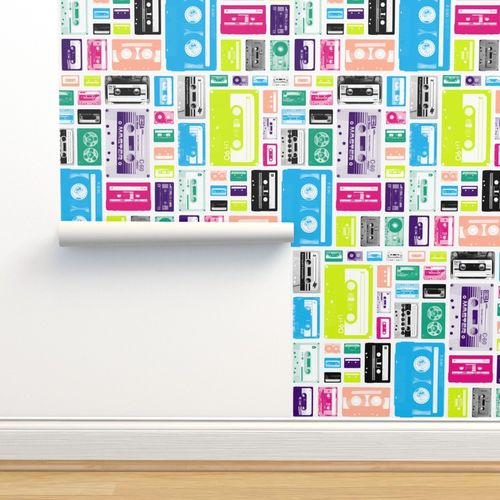 Mix Tapes Railroaded Retro 70s 80s Spoonflower