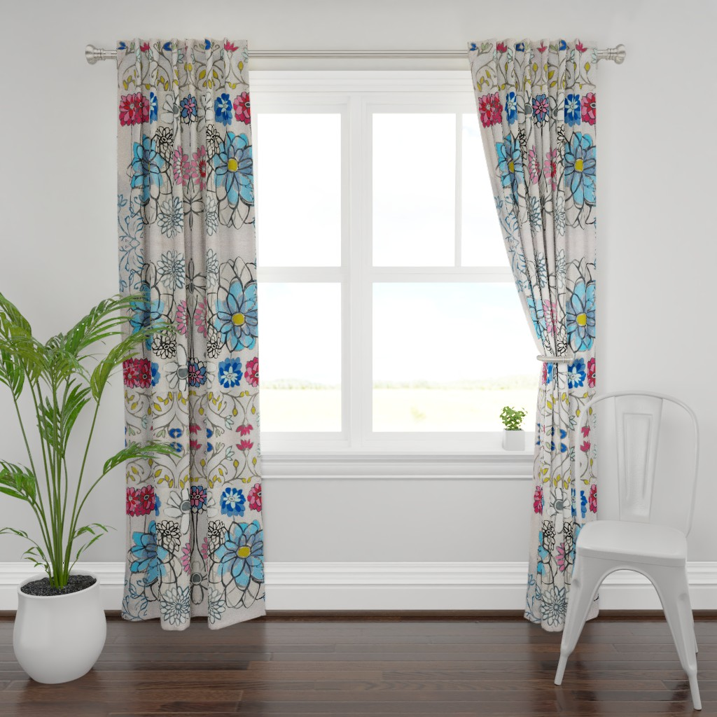 Plymouth Curtain Panel featuring Blue Field Flower by maria_pezzano