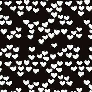 Pastel love hearts tossed hand drawn illustration pattern scandinavian style in neutral black and white XS