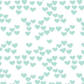 Pastel love hearts tossed hand drawn illustration pattern scandinavian style in soft mint XS
