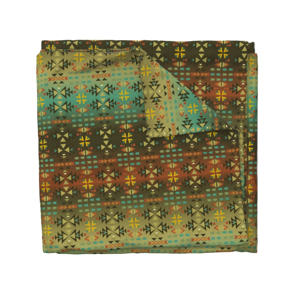 Wyandotte Duvet Cover featuring Southwestern Warmth by cherie