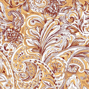 Floral Paisley - Gold