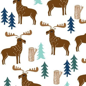 moose // forest outdoors trees logs boy scouts canada mint navy blue