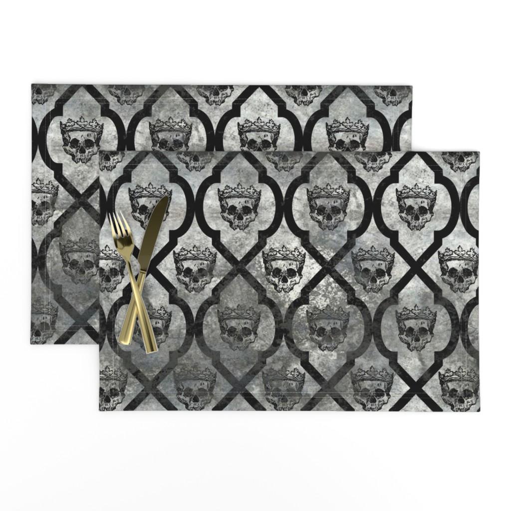 Lamona Cloth Placemats featuring Skull Fresco - gray by thecalvarium