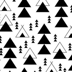 geometric teepee woodland tree abstract triangle forest in black and white