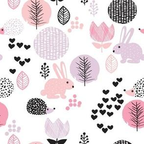 Cute spring animals love girls hedgehog bunny garden easter design