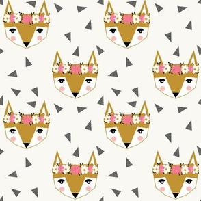 flower fox girly cute pink cream
