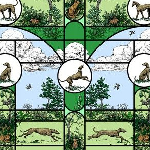 Summer Green Stained Glass Small, Toile Greyhounds