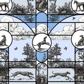 Winter Blue Stained Glass Small, Toile Greyhounds