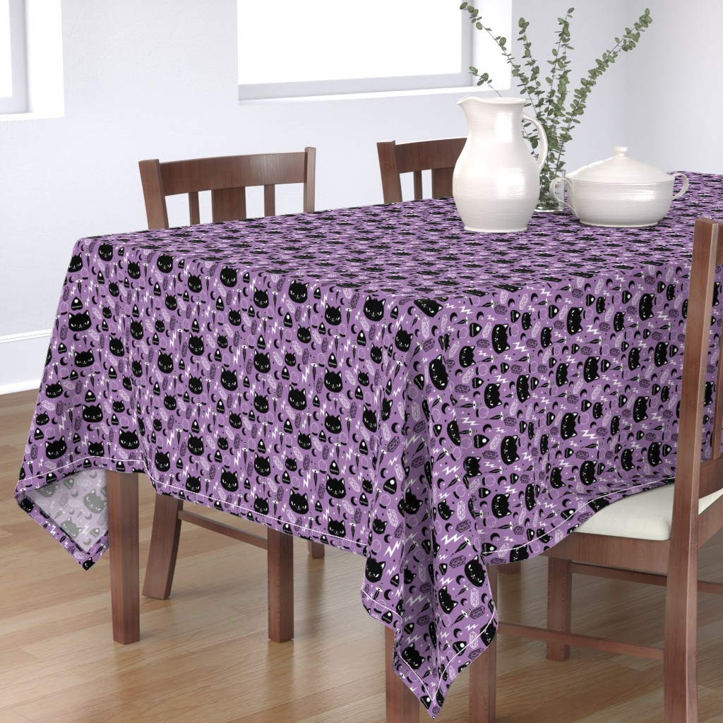 Bantam Rectangular Tablecloth featuring Cat Magic by emandsprout