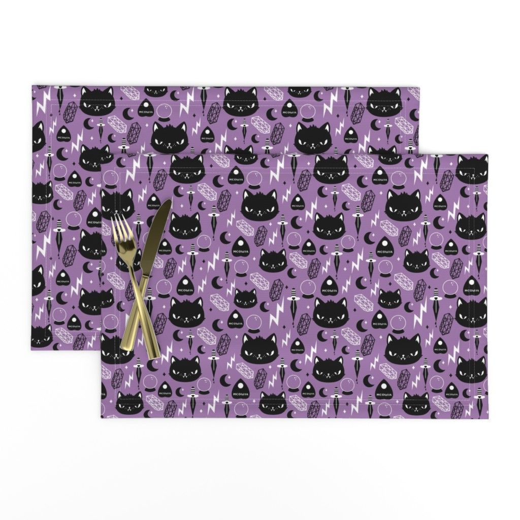 Lamona Cloth Placemats featuring Cat Magic by emandsprout