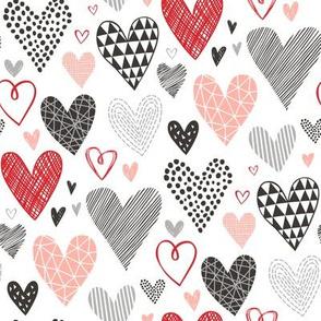 Hearts Geometrical Love Valentine Black&White Red Pink