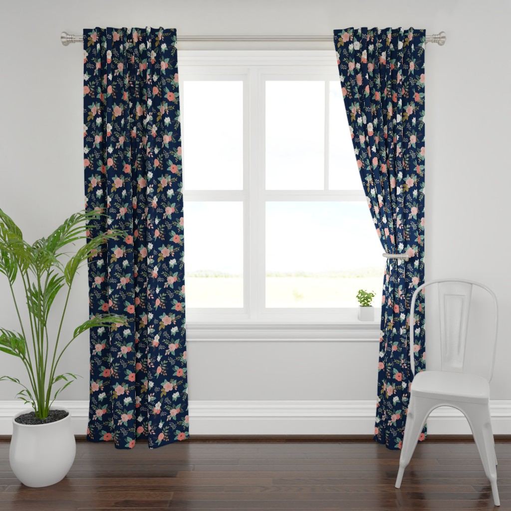 Plymouth Curtain Panel featuring Sweet Bouquets in Navy and Coral by willowlanetextiles