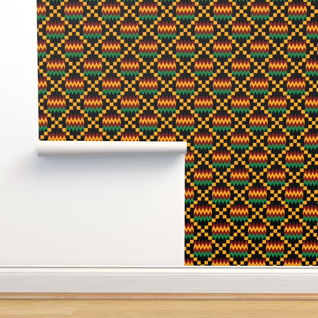 Isobar Durable Wallpaper featuring 3 Inch Yellow, Green, Red, on Black, Kente Cloth by mtothefifthpower