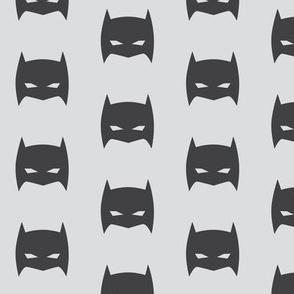Superhero Bat Mask Gray on Gray