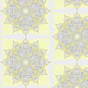 Sunny Yellow Doodle Mandala Half Drop