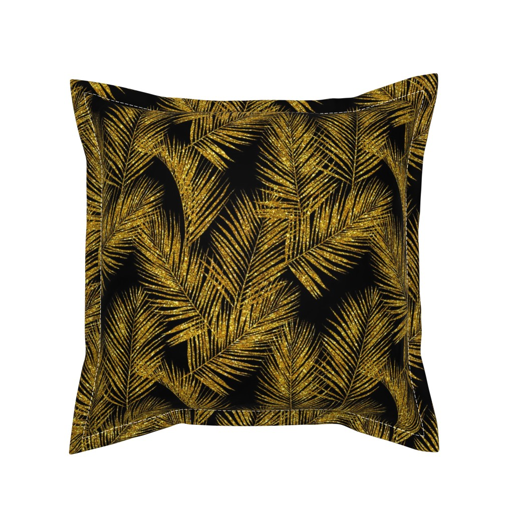 Serama Throw Pillow featuring gold glitter palm leaves - black, small. silhuettes faux gold imitation tropical forest black background hot summer palm plant leaves shimmering metal effect texture fabric wallpaper giftwrap by mirabelleprint