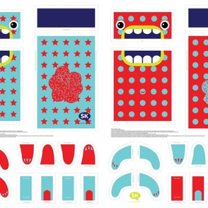 Mini Hungry Monster Toy Bags: Red/Turquoise Stars & Spots