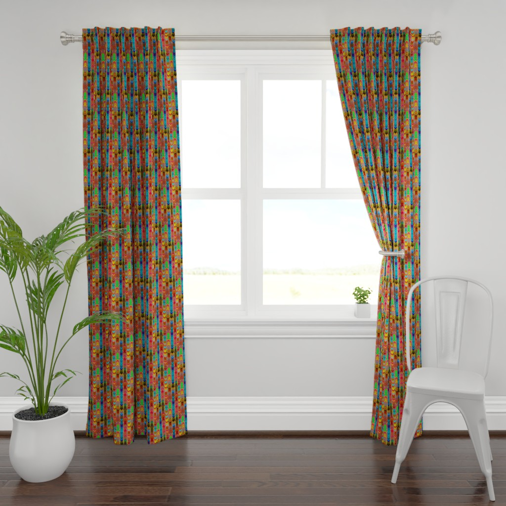 Plymouth Curtain Panel featuring CHEVRONS AUTUMN LEAF SHADES by paysmage