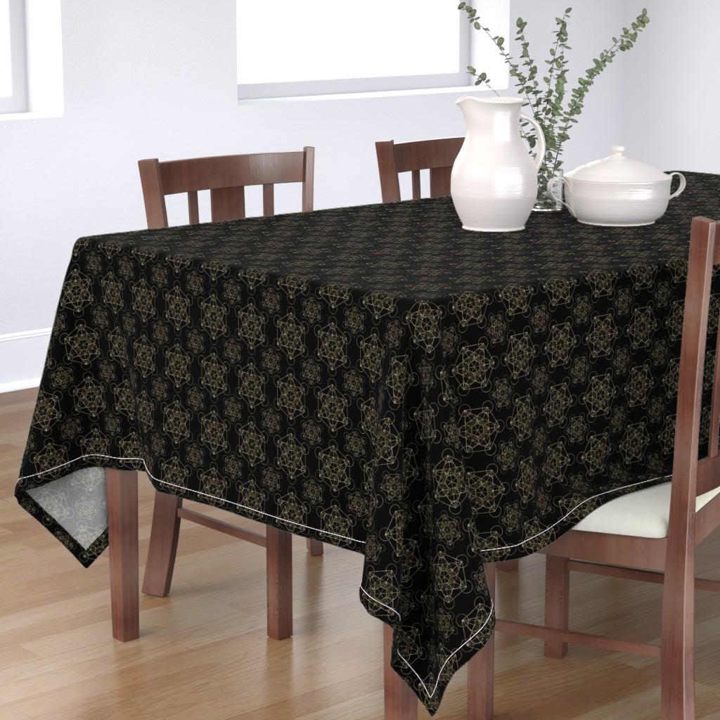 Bantam Rectangular Tablecloth featuring Metatron's Cube Black & Gold by maverickcreatrix
