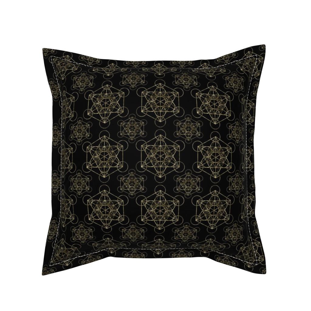 Serama Throw Pillow featuring Metatron's Cube Black & Gold by maverickcreatrix