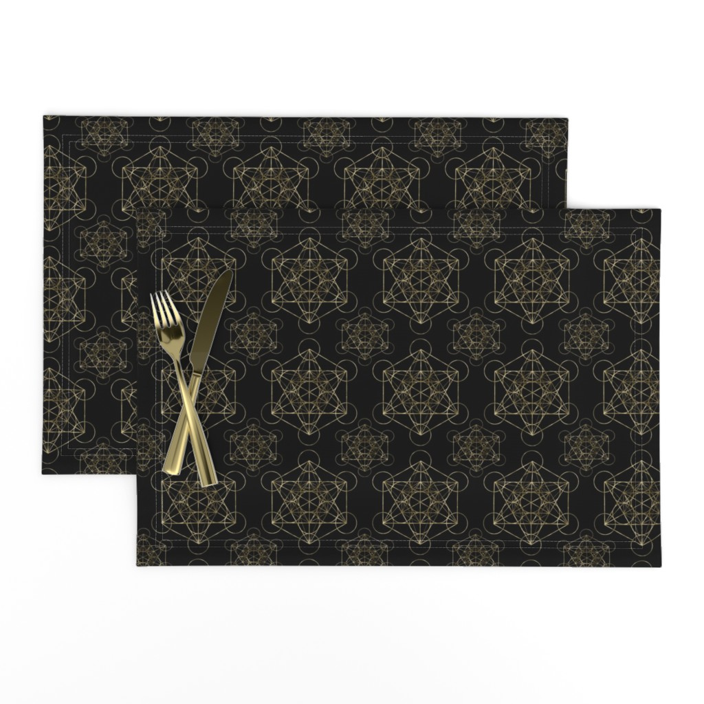 Lamona Cloth Placemats featuring Metatron's Cube Black & Gold by maverickcreatrix