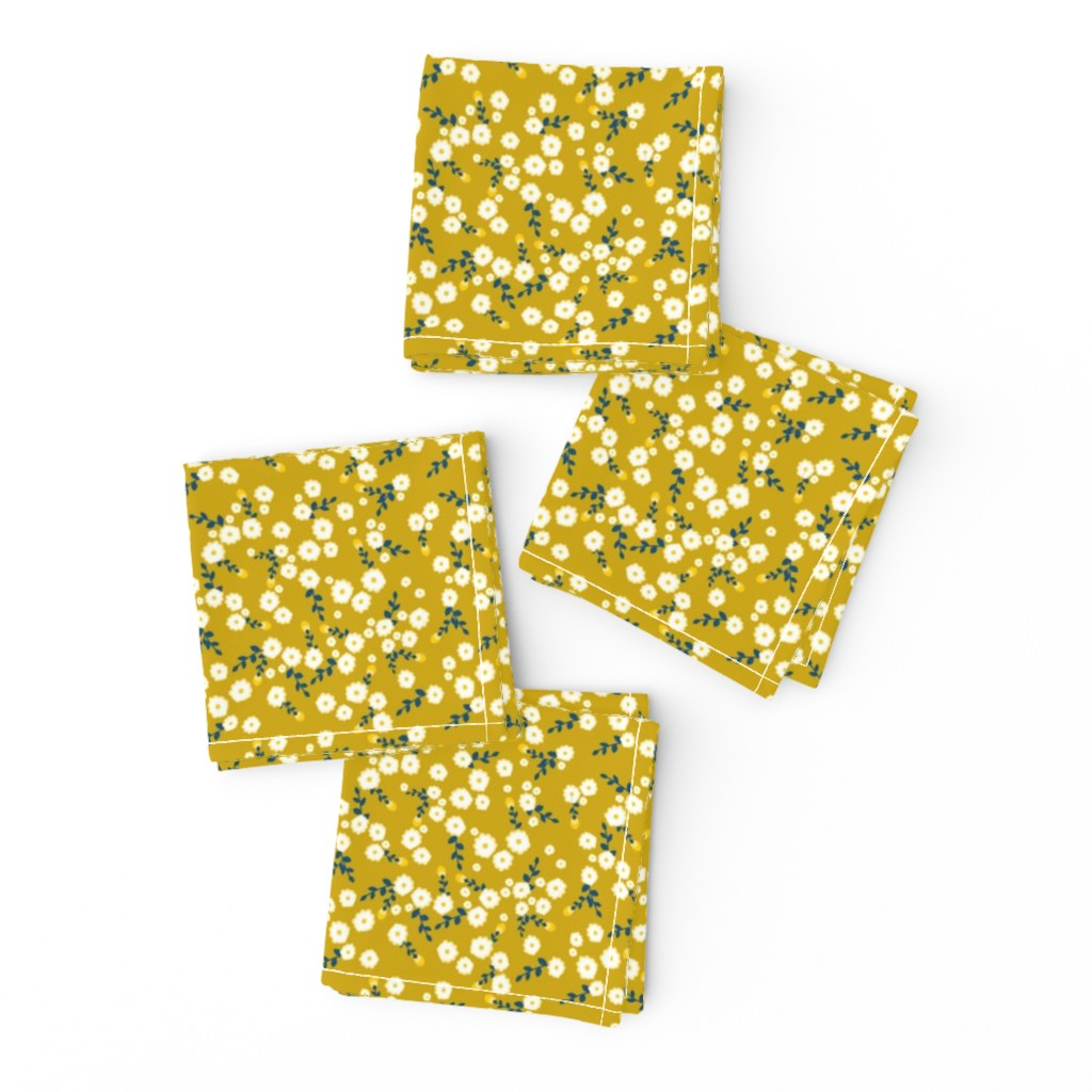 Frizzle Cocktail Napkins featuring Autumn Yellow Daisy by katebillingsley