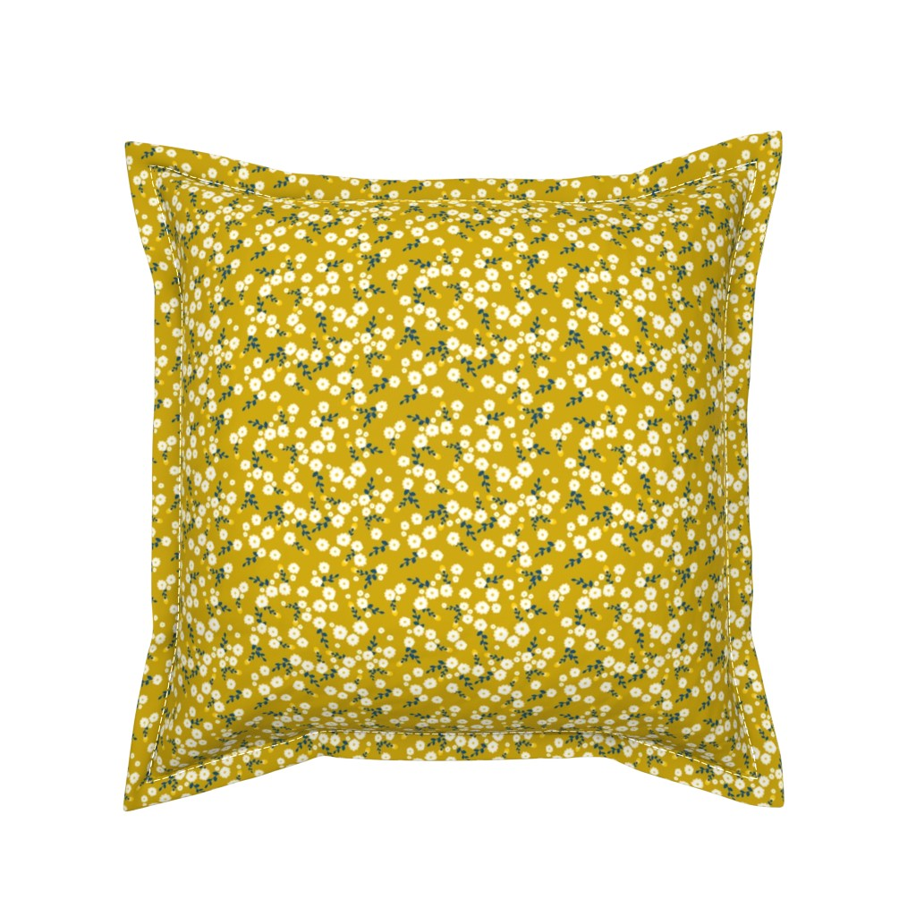 Serama Throw Pillow featuring Autumn Yellow Daisy by katebillingsley