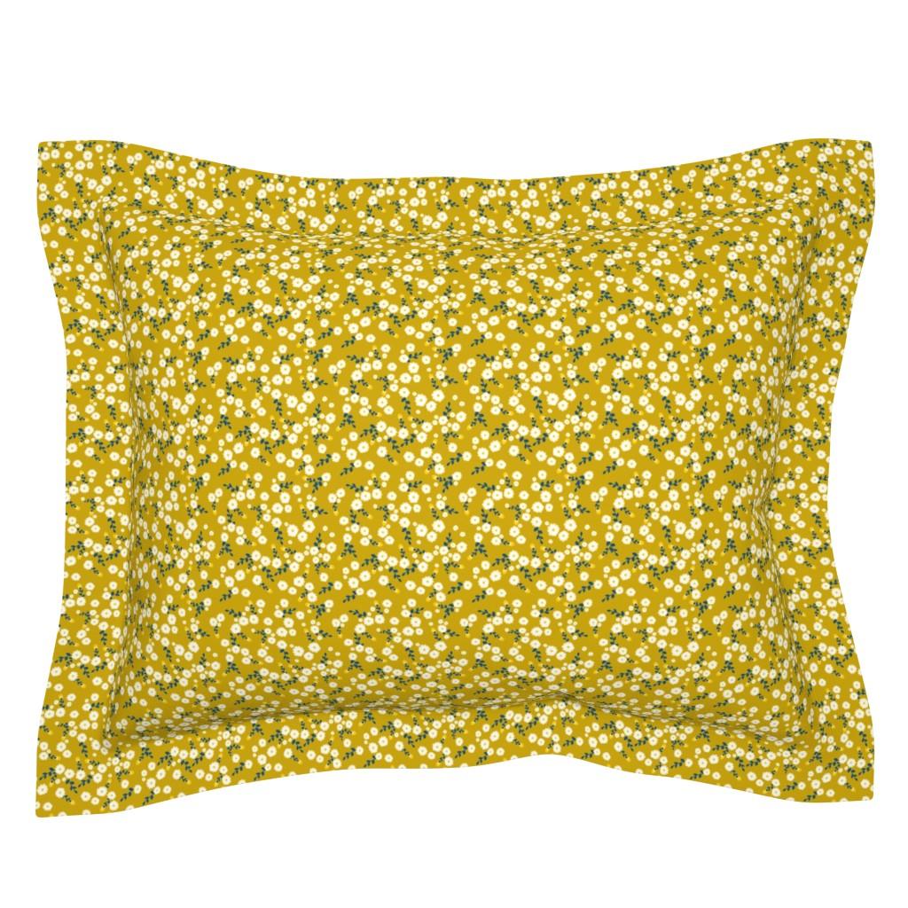 Sebright Pillow Sham featuring Autumn Yellow Daisy by katebillingsley