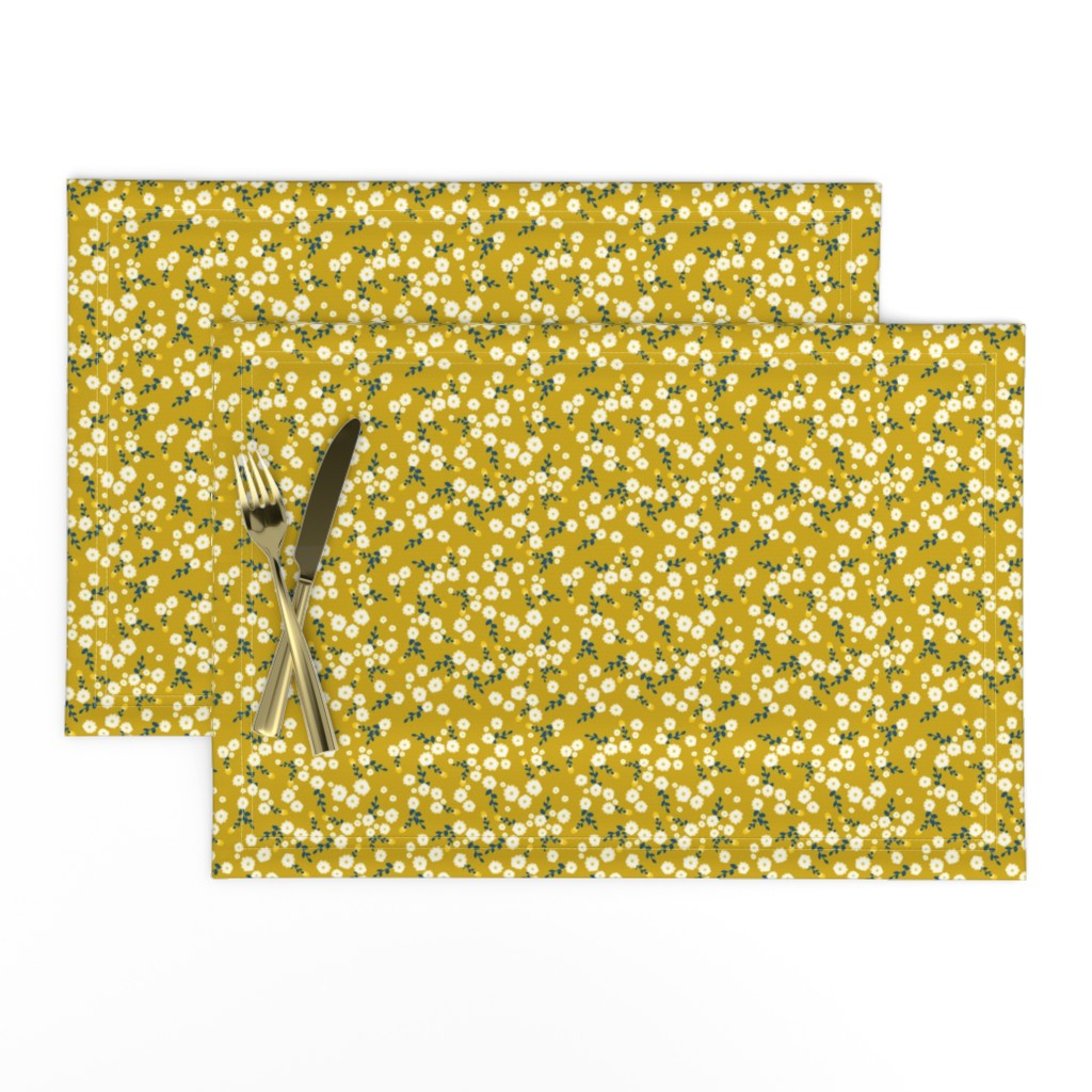 Lamona Cloth Placemats featuring Autumn Yellow Daisy by katebillingsley