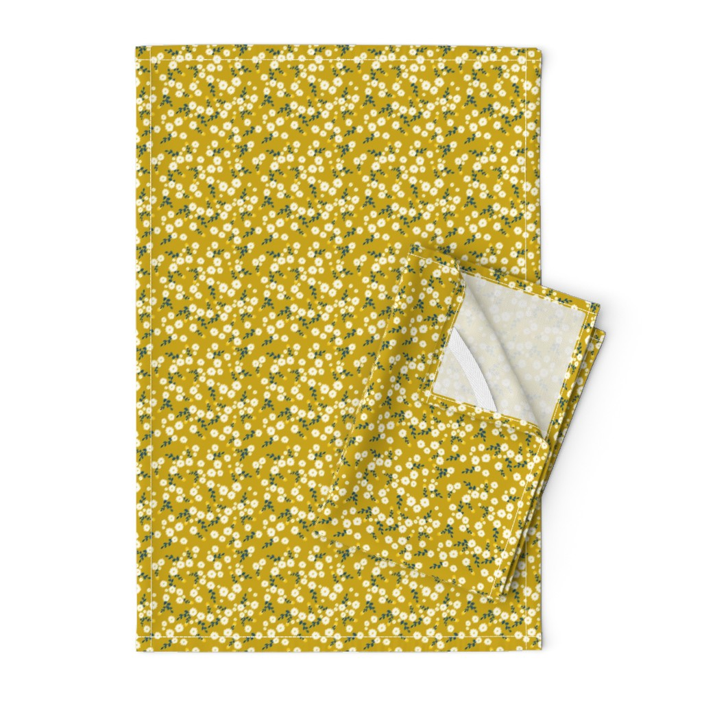 Orpington Tea Towels featuring Autumn Yellow Daisy by katebillingsley