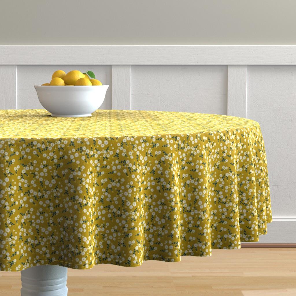 Malay Round Tablecloth featuring Autumn Yellow Daisy by katebillingsley