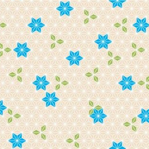 Asanoha flower-blue
