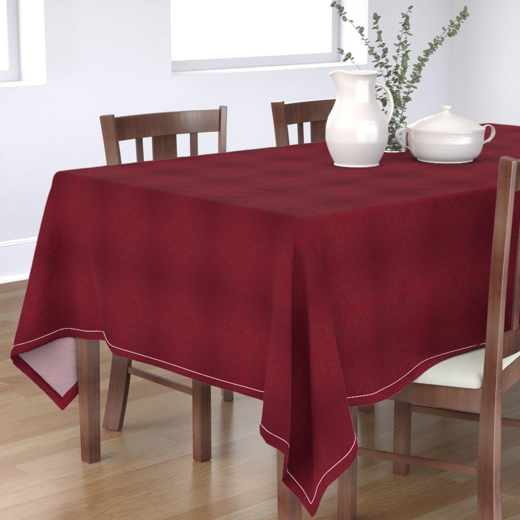 Bantam Rectangular Tablecloth featuring Flower of Life Pattern Red by maverickcreatrix